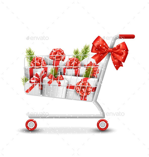 Shopping Cart with Gift Boxes and Pine Branches - Christmas Seasons/Holidays