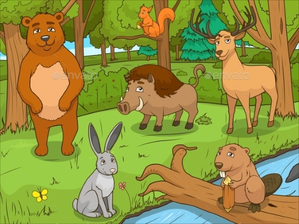 Forest Cartoon Animals Educational Game - Landscapes Nature
