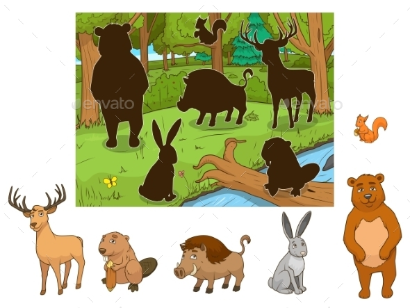 Forest Cartoon Animals with Shadows Vector - Landscapes Nature