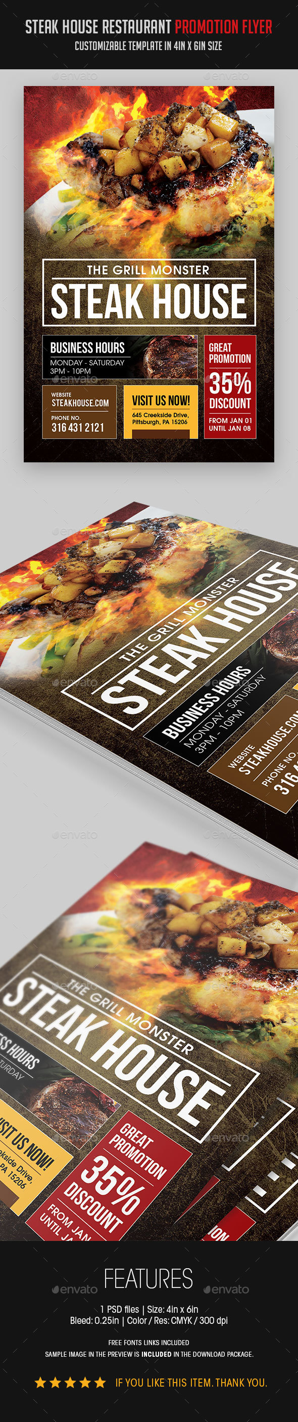 Steak House BBQ Restaurant Flyer