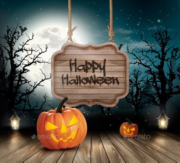 Halloween Spooky Background Vector - Halloween Seasons/Holidays