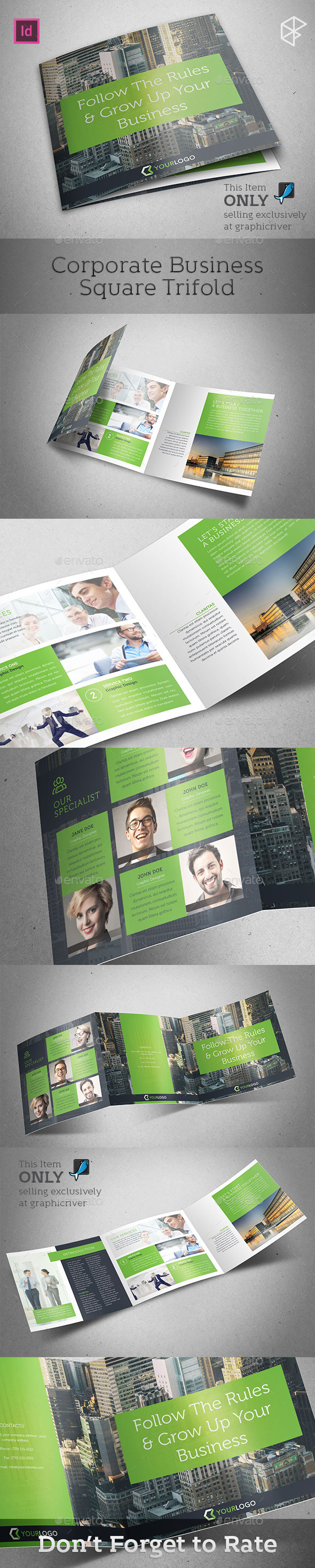 Corporate Business Square Trifold - Corporate Brochures