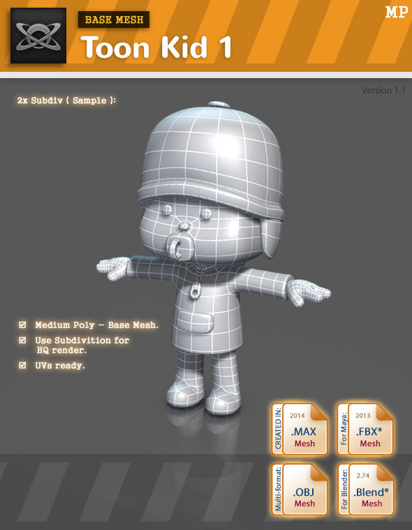 Base Mesh - Toon Kid 1 - 3DOcean Item for Sale