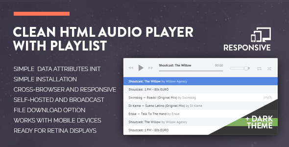 Clean HTML Audio Player with Playlist - CodeCanyon Item for Sale
