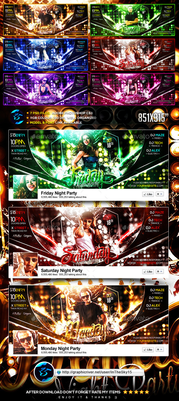7 Day Night Party FB Timeline Cover - Facebook Timeline Covers Social Media