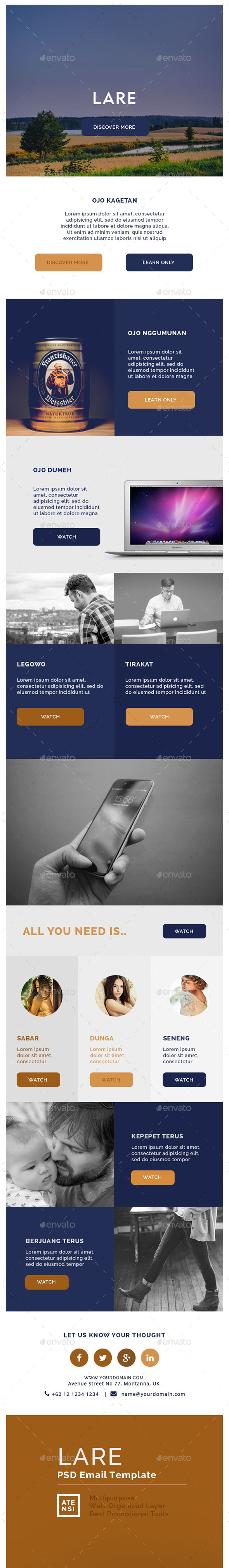 Lare Multipurpose Email Template - E-newsletters Web Elements