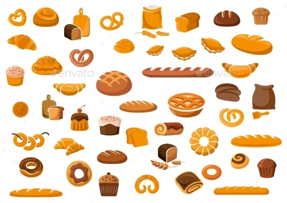 Bakery And Pastry Products Icons - Food Objects