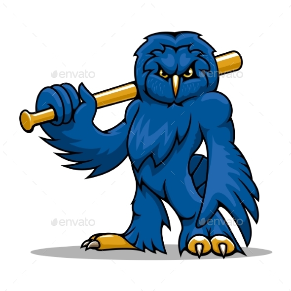 Cartoon Blue Owl Baseball Player With Bat - Sports/Activity Conceptual