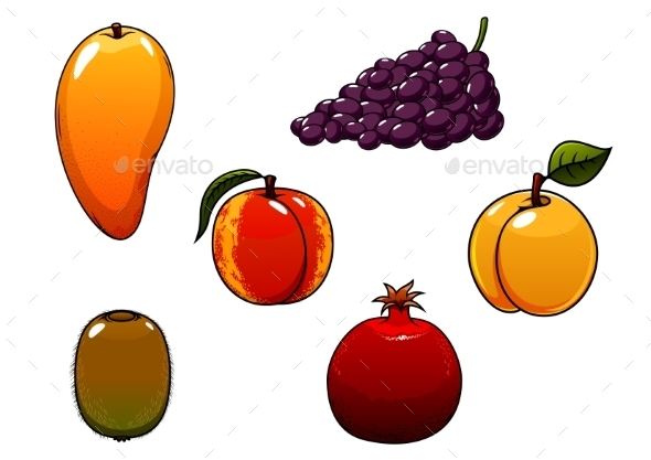 Juicy And Sweet Isolated Fresh Fruits Set - Food Objects