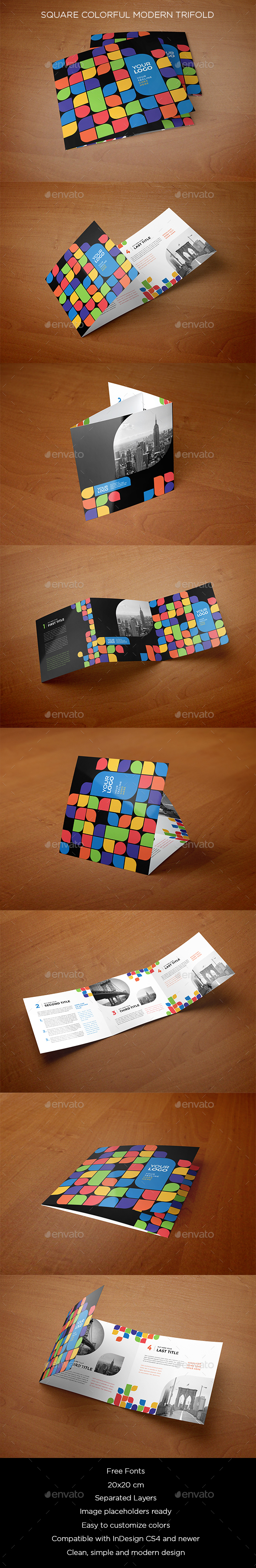 Square Colorful Modern Trifold - Brochures Print Templates