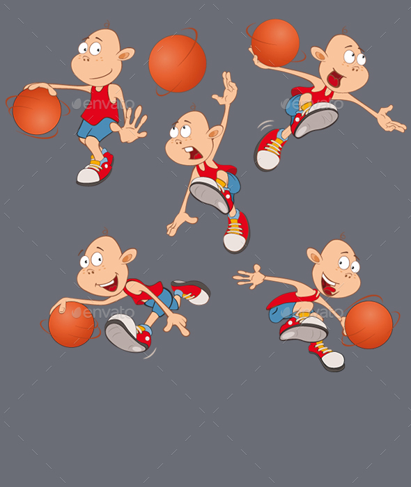 Vector Illustration of Little Basketball Players - Sports/Activity Conceptual