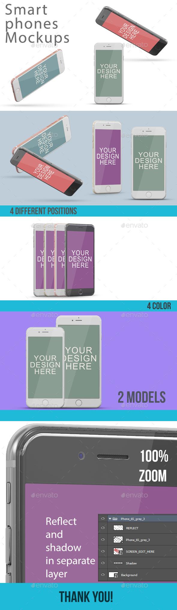 Smartphones Screen Mock-Ups - Mobile Displays