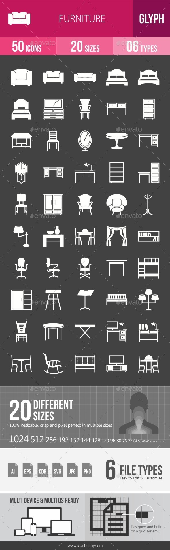 Furniture Glyph Inverted Icons - Icons