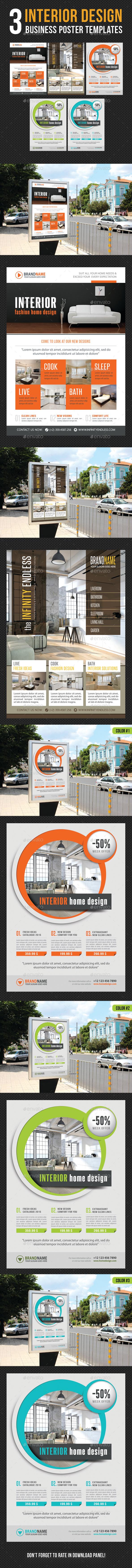 3 in 1 Interior Design Poster Bundle V03 - Signage Print Templates