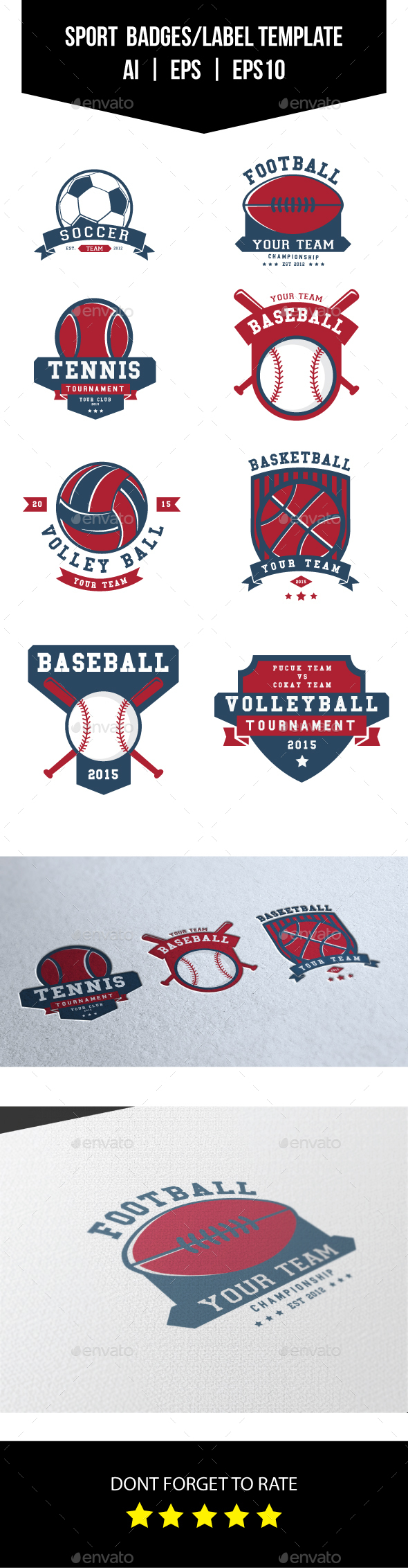 Sport Badges and Label/Logo Template - Badges & Stickers Web Elements