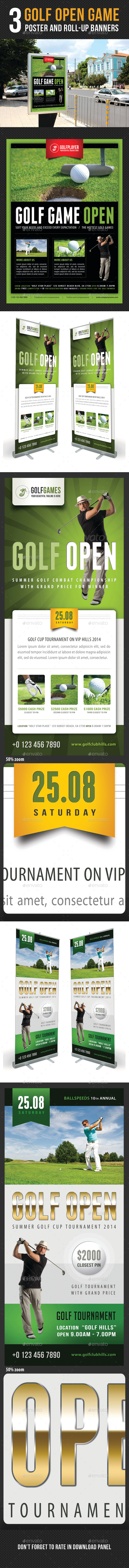 3 in 1 Golf Poster and Banners Bundle - Signage Print Templates