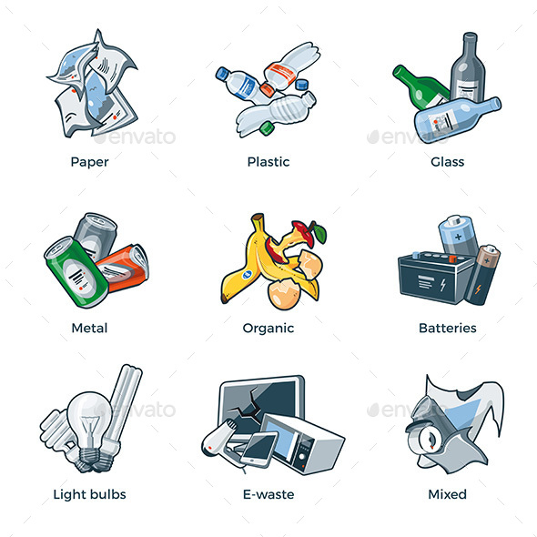 Isolated Trash Waste Recycling Categories Types - Objects Vectors