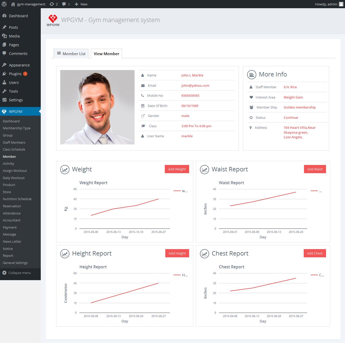 WPGYM - Wordpress Gym Management System by dasinfomedia | CodeCanyon
