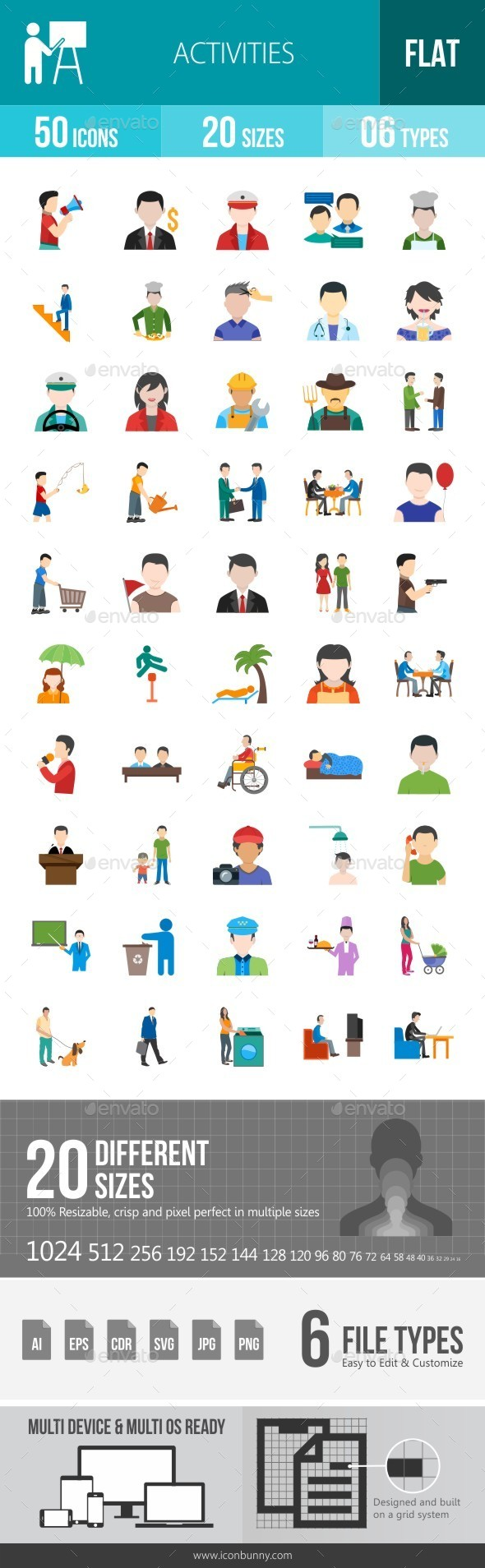 Activities Flat Multicolor Icons - Icons