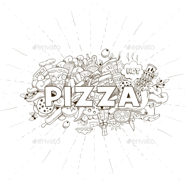 Pizza Hand Drawn Title Design Vector - Food Objects