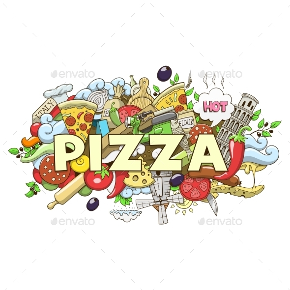 Pizza Hand Drawn Title Design Vector Illustration - Food Objects
