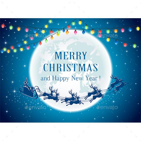 Christmas Lights and Santa - Christmas Seasons/Holidays