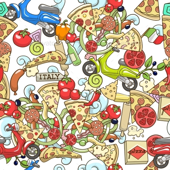 Pizza Seamless Background Vector Illustration - Food Objects