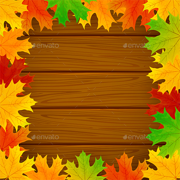 Frame from the Leaves on Wooden Background - Seasons Nature