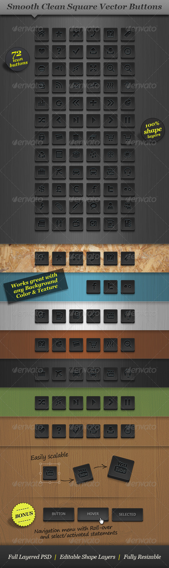 Dark Square Icon Set Vector Web Buttons - Buttons Web Elements