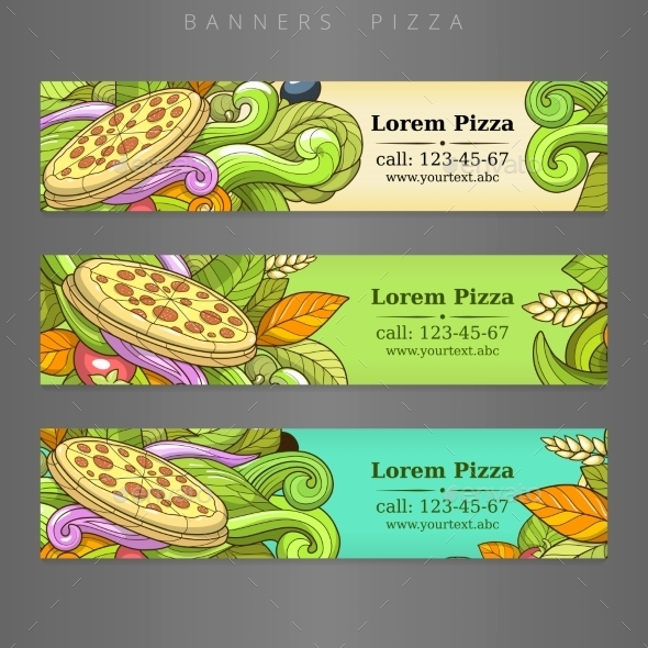 Banner Advertisement Pizza Design Vector - Food Objects