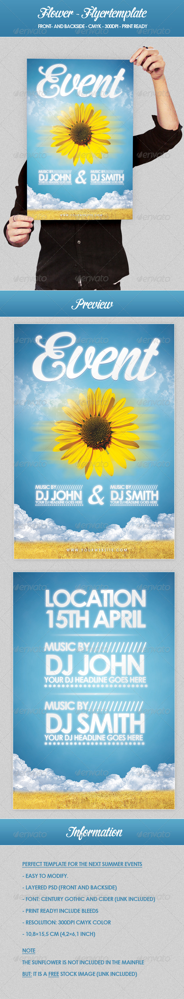 Flower - Flyer Template - Clubs & Parties Events