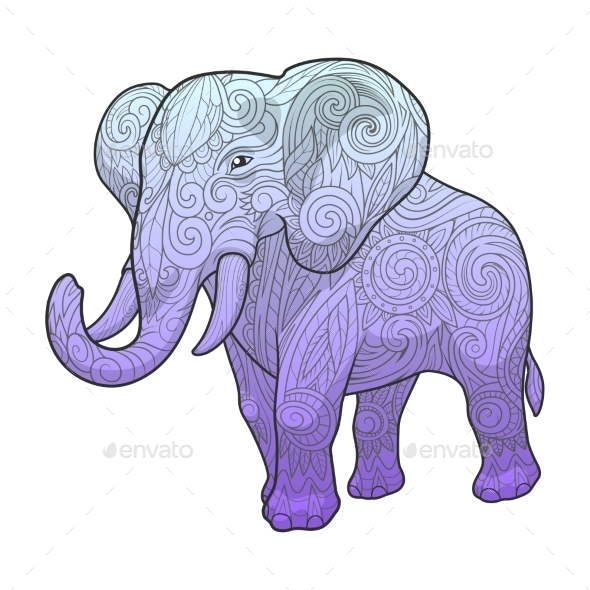Elephant Ornament Ethnic Vector Illustration - Backgrounds Decorative