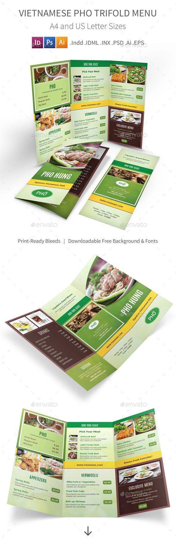 Vietnamese Pho Restaurant Trifold Menu - Food Menus Print Templates