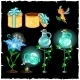 Set Of Magical Plants And Potion Flasks