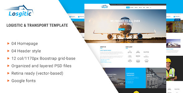 Logistic - Warehouse & Transport PSD template - PSD Templates
