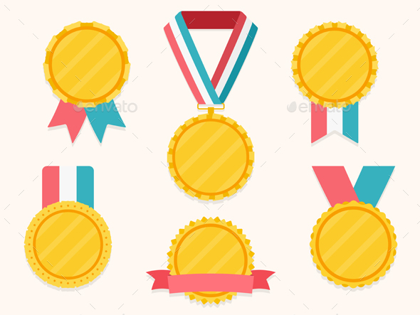 Medals with Ribbons - Man-made Objects Objects