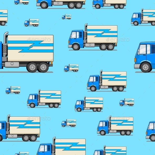 Seamless Pattern Truck Vector Illustration - Backgrounds Decorative