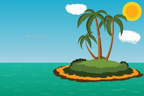 Island With Palm Trees - Seasons Nature