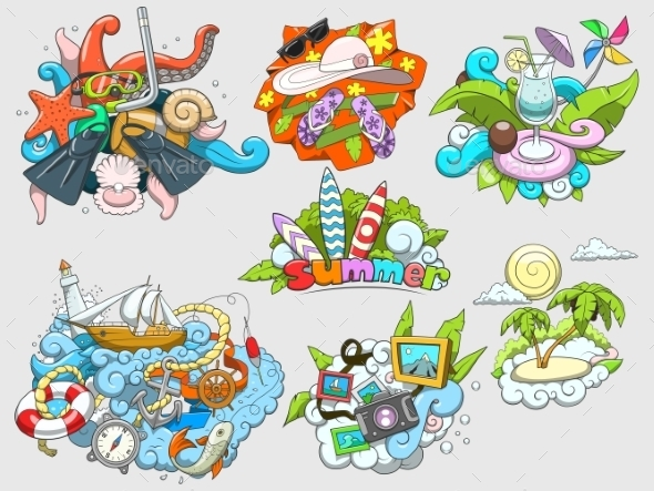 Summer Set Design Color Vector Illustration - Travel Conceptual
