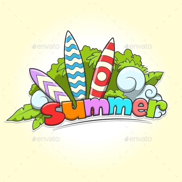 Summer Surfing Vector Illustration - Flowers & Plants Nature