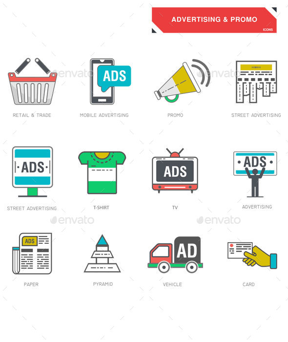 Line Icons of Advertising - Business Icons