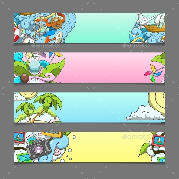 Banner Summer Theme Vector Illustration - Travel Conceptual