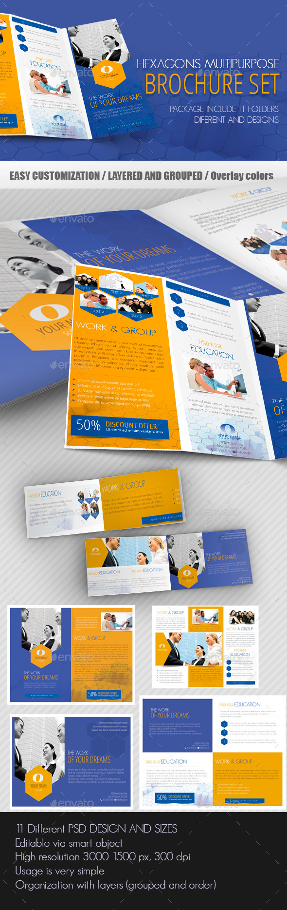 Hexagons Multipurpose Brochure Set - Brochures Print Templates