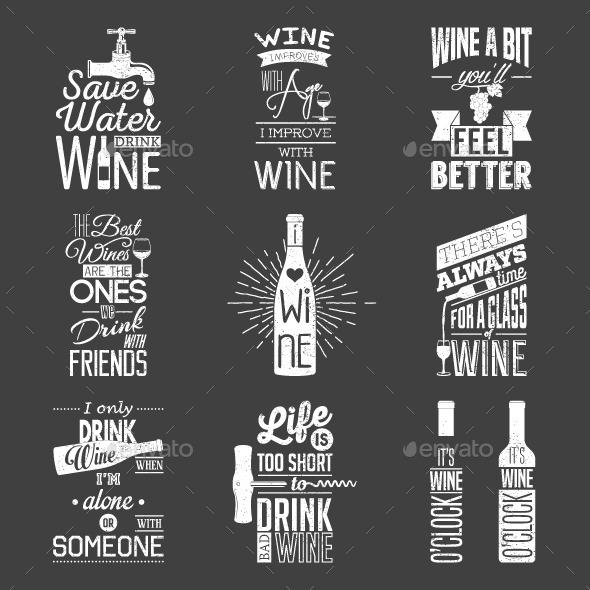Set of Vintage Wine Typographic Quotes - Decorative Symbols Decorative