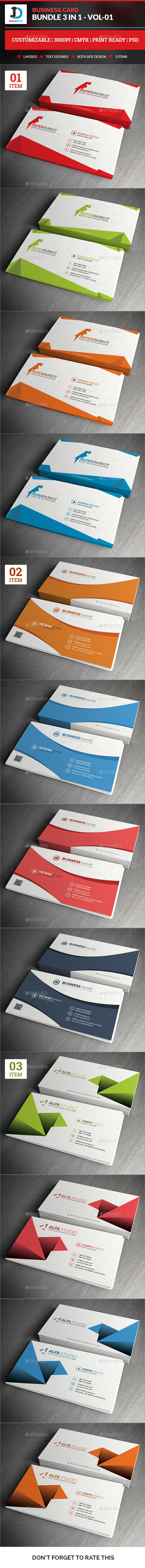 Business Card Bundle 3 in 1 - Vol-1 - Corporate Business Cards