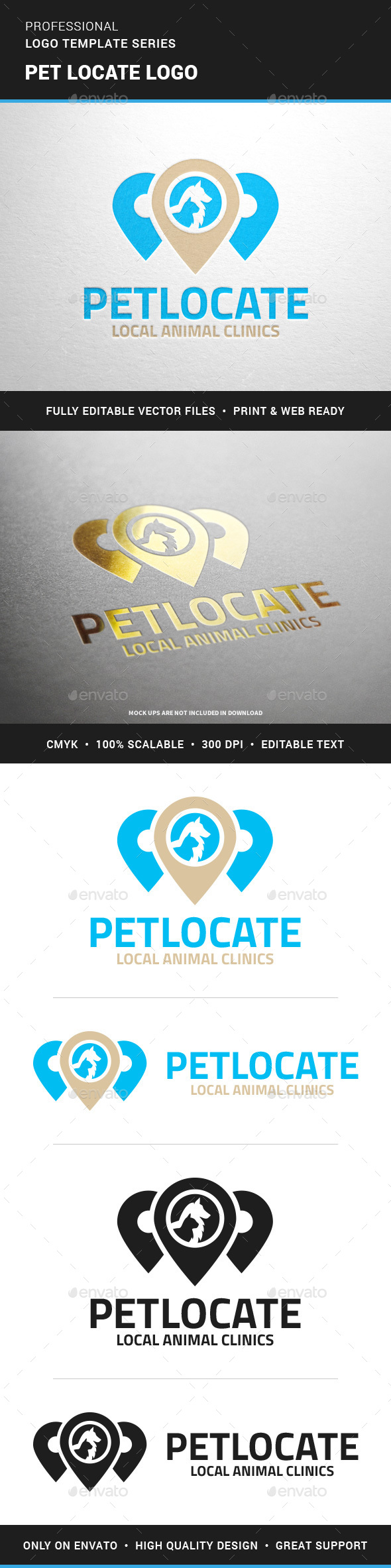 Pet Locate Logo Template - Animals Logo Templates