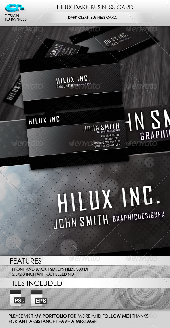 +Hilux Dark Business Card - Corporate Business Cards