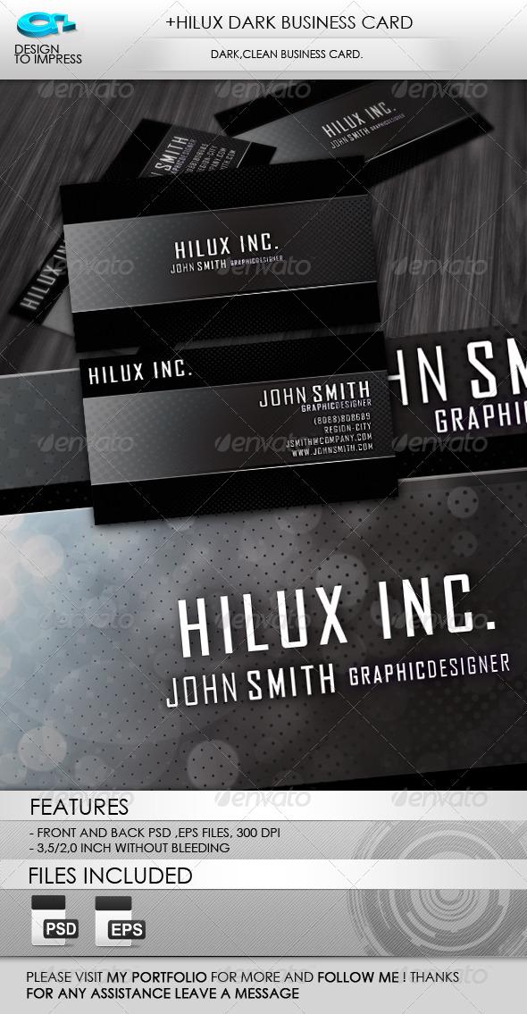 +Hilux Dark Business Card - Corporate Business Cards