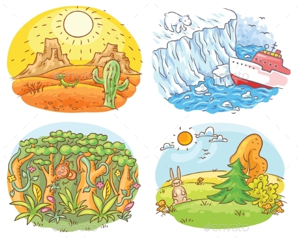 Set of Four Different Climatic Zones - Landscapes Nature