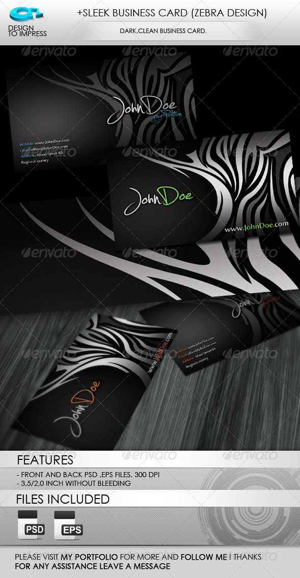 +Sleek Business Card (Zebra Design) - Creative Business Cards